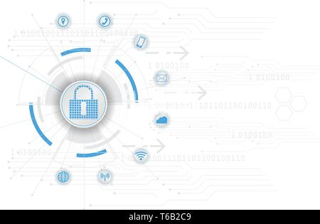 Safety Concept Closed Padlock on Digital Cyber Security Blue Abstract Hi Speed Internet Technology Vector Background Illustration - Stock Photo