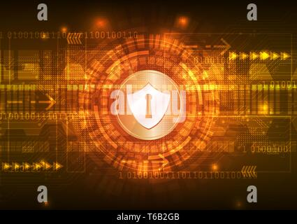 Safety concept, Closed Padlock on digital, cyber security, blue abstract hi speed internet technology vector background illustration. - Stock Photo