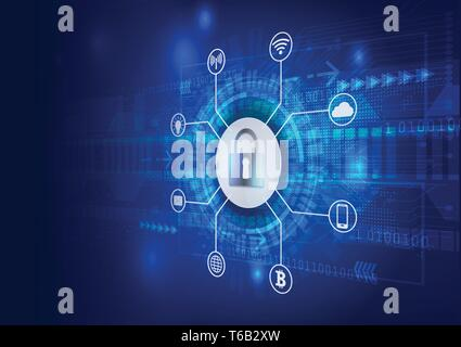 Safety Concept. Closed Padlock on Digital. Cyber Security. Blue Abstract Hi Speed Internet Technology Vector Background Illustration. - Stock Photo