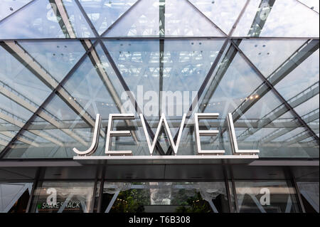 28.04.2019, Singapore, Republic of Singapore, Asia - Entrance to the new Jewel Terminal at Changi Airport, designed by Moshe Safdie Architects. - Stock Photo
