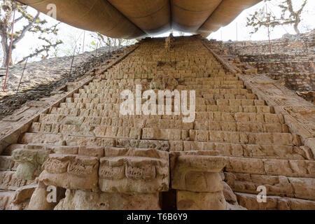Maya ruins - the mayan Hieroglyphic Stairway at the UNESCO World heritage site of Copan, Honduras Central America - Stock Photo