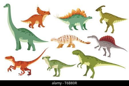 Cartoon dinosaur set. Cute dinosaurs icon collection. Colored predators and herbivores. Flat vector illustration isolated on white background. - Stock Photo