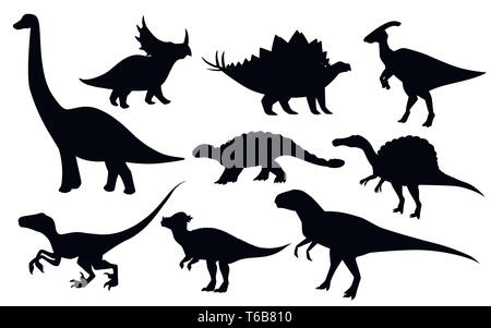 Cartoon dinosaur set. Cute dinosaurs icon collection. Black silhouette predators and herbivores. Flat vector illustration isolated on white background - Stock Photo