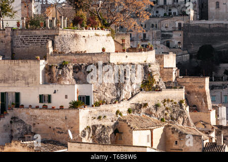 Matera, European Capital of Culture 2019, Italy. Detail of houses built on stones. - Stock Photo