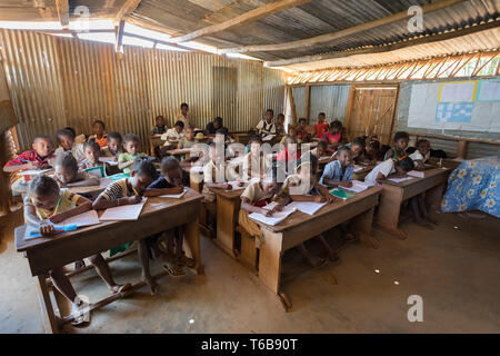 Malagasy school children in classroom - Stock Photo