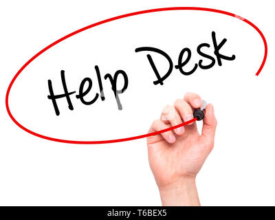 Man Hand writing Help Desk with black marker on visual screen - Stock Photo