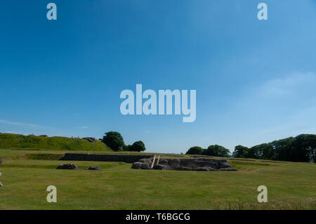 the ruins of the Old Sarum Castle. Salisbury, Wiltshire, England, UK - Stock Photo