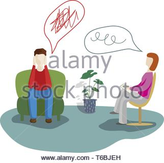 Man talking to psychotherapist or psychologist and answer questions. Psychotherapy. Psychologist - Stock Photo