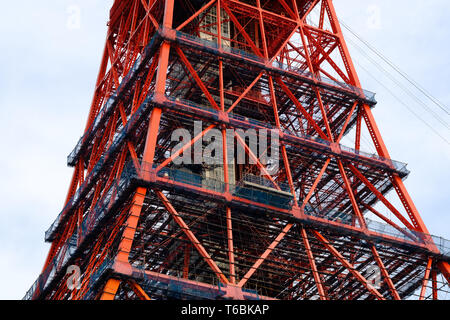 An up close detailed view of the intricate structure of Tokyo Tower, the icon of Tokyo, Japan. - Stock Photo