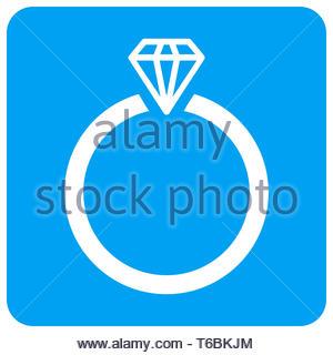 Diamond Ring Rounded Square Raster Icon - Stock Photo