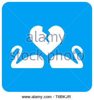 Divorce Swans Rounded Square Raster Icon - Stock Photo