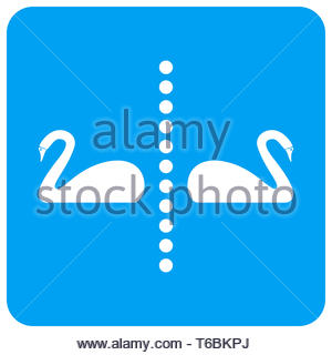 Separate Swans Rounded Square Raster Icon - Stock Photo