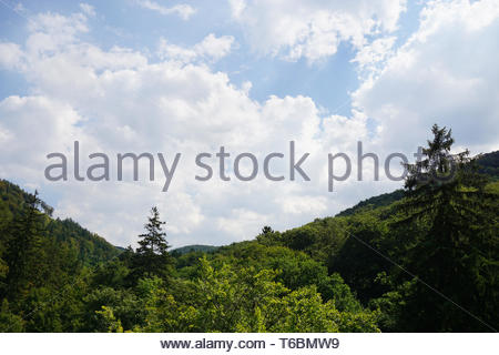 wooded mountain and cloudy sky - Stock Photo