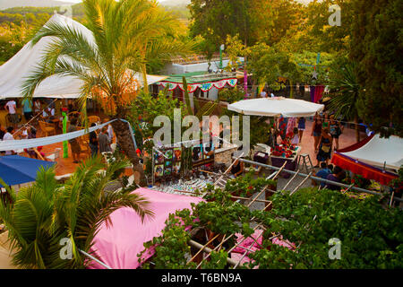 Las Dalias hippie market. Sant Carles de Peralta. Ibiza. Balearic Islands. Spain. - Stock Photo