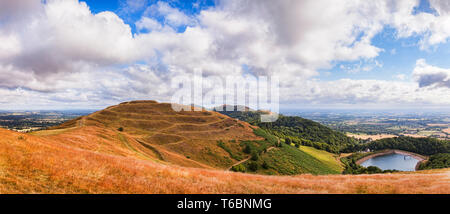 Herefordshire Beacon or British Camp from Millenium Hill in the Malvern Hills, Herefordshire and Worcestershire, England. - Stock Photo