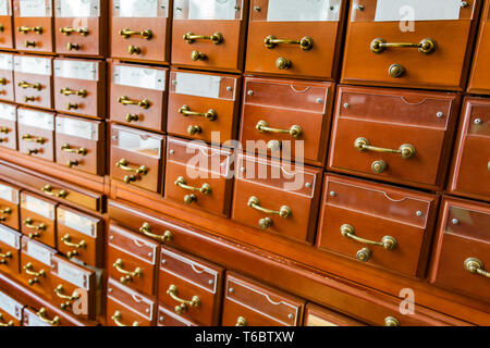 Filing cabinets in the library - Stock Photo