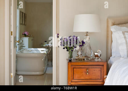 View of bathroom from bedroom - Stock Photo