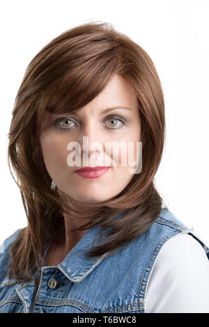 beautiful middle age woman cancer patient with wig - Stock Photo
