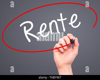 Man Hand writing Rente (Pension in German) with black marker on visual screen. - Stock Photo