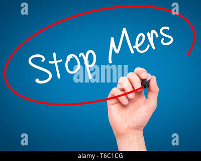 Man Hand writing Stop Mers with black marker on visual screen - Stock Photo