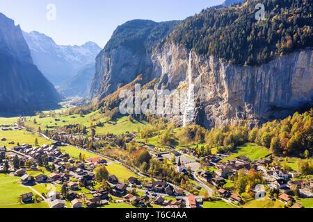 Aerial view of Lauterbrunnen. Lauterbrunnen, Canton of Bern, Switzerland, Europe - Stock Photo