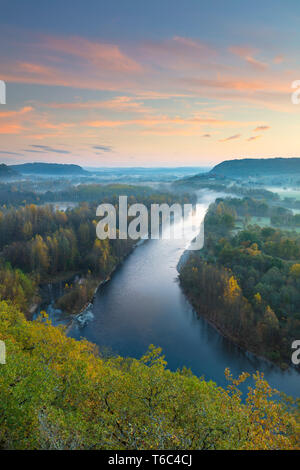 Aerial view of the Dordogne Valley & Dordogne river on a misty morning in autumn, Lot, Midi-Pyrenees, France - Stock Photo