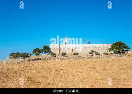 Palestine, West Bank, Bethlehem Governorate, Al-Ubeidiya. Monastery of Saint Theodosius. - Stock Photo