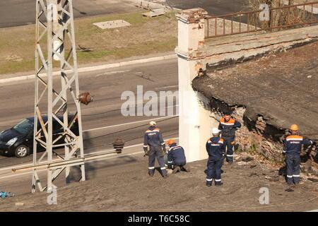 Kremenchug, Poltava region, Ukraine, April 9, 2019, improvement of the city repair of the old roof - Stock Photo