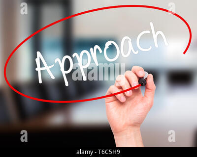 Man Hand writing Approach with black marker on visual screen - Stock Photo