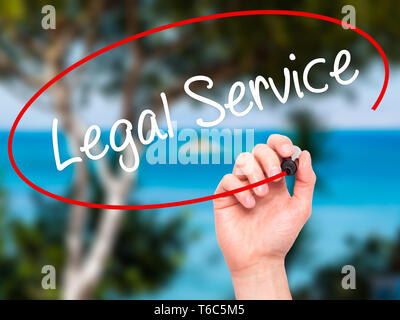 Man Hand writing Legal Service with black marker on visual screen - Stock Photo