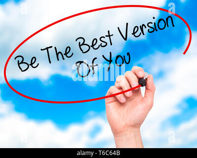 Man Hand writing Be The Best Version Of You with black marker on visual screen - Stock Photo