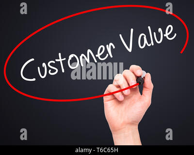 Man Hand writing Customer Value with black marker on visual screen - Stock Photo