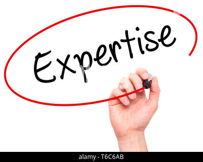 Man Hand writing Expertise with black marker on visual screen - Stock Photo