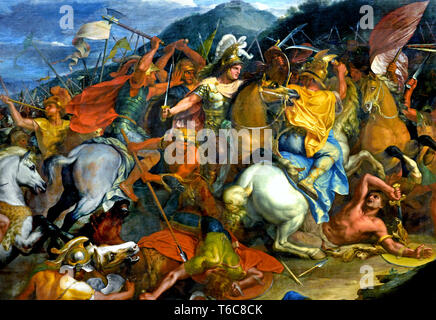 Alexander the Great and King Porus 1665-1673 (Alexander shows himself magnanimous with the Indian king Porus whom he has just conquered.) by Charles LE BRUN 1619 - 1690, Paris, French, France.( detail) - Stock Photo