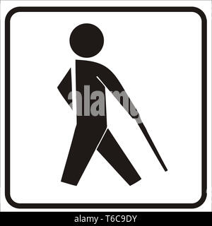 Pictogram depicting a blinf person with a walking stick. Can be used fof traffic sign. - Stock Photo