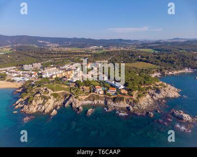 Drone picture over the Costa Brava coastal, small village La Fosca of Spain - Stock Photo