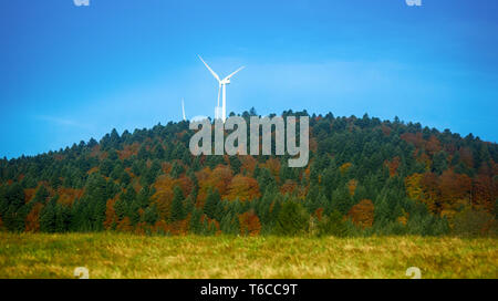 Autumn in Pyrenees between France and Spain, the month of October forest in autumn colors. environmentally friendly electricity wind turbine - Stock Photo