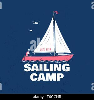Sailing camp badge. Vector illustration. Concept for shirt, print, stamp or tee. Vintage typography design with man in sailboats silhouette. Sailing on boat. Ocean adventure. Classic water sport. - Stock Photo