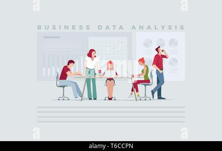 Casual business people team concept for data analysis, planning, strategy, finance, investment, market research. Vector illustration concept for prese