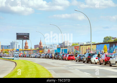 he Berlin wall with grafitti in Berlin, Germany - Stock Photo