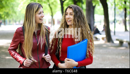 Two female schoolmates talking in a college courtyard - Stock Photo