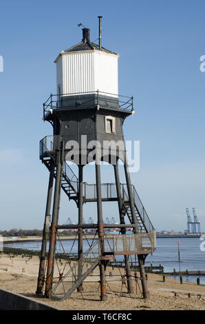 Dovercourt outer lighthouse in portrait - Stock Photo