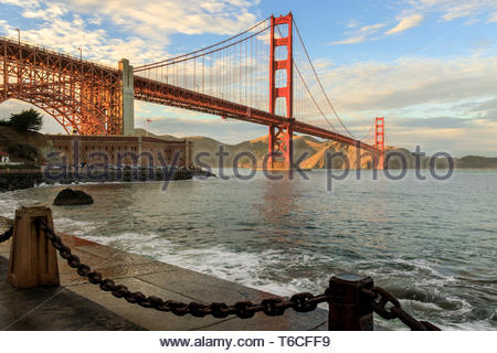 Golden Gate Bridge and Chainlink Fence. - Stock Photo