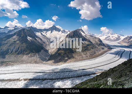 View of great Aletsch Glacier from Eggishorn. In 2018 this and other glaciers in Switzerland lost 2.5 percent of their volume. - Stock Photo