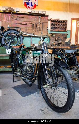 NSU 1916, German 500cc classic motorcycle / oldtimer motorbike in workshop at Autoworld, vintage automobile museum in Brussels, Belgium - Stock Photo