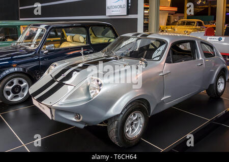 1974 Mini Marcos Mark IV / MK4, British classic 2-door coupé sports car at Autoworld, vintage car museum in Brussels, Belgium - Stock Photo