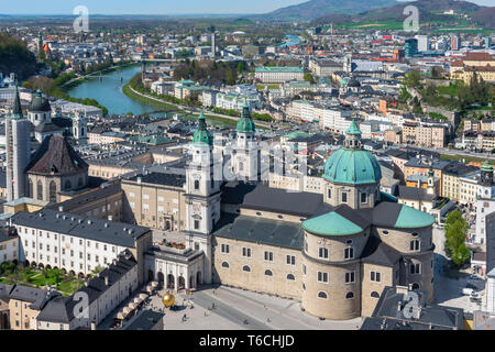 Austria Salzburg, aerial view in summer of the baroque Cathedral (Dom) sited in the Old Town quarter (Altstadt) of Salzburg, Austria. - Stock Photo