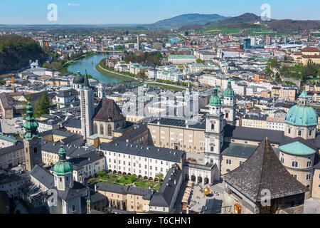 Austria Salzburg, aerial view in summer of the baroque Old Town (Altstadt) quarter in the centre of the city of Salzburg, Austria.