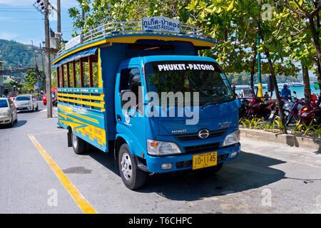 Bus between Phuket town and Patong, Beach Road, Thawewong Road, Patong, Phuket island, Thailand - Stock Photo