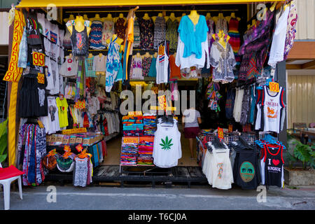 Clothing shop, Beach Road, Thawewong Road, Patong, Phuket island, Thailand - Stock Photo
